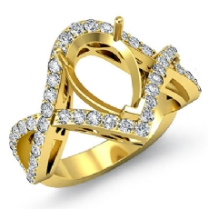 Diamond Engagement Ring Pear Cut Semi Mount 14k Gold Yellow Twisted Shank (0.74Ct. tw.)