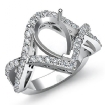 0.74Ct Diamond Engagement Ring Pear Cut Semi Mount 14k White Gold Twisted Shank - javda.com