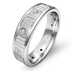 Verticle Cuts Matte Bezel Diamond Eternity Men's Wedding Band 14k W Gold 0.13 Ct