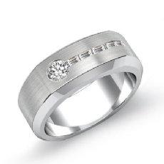 Matte Finish Baguette Diamond Men's Half Wedding Band 14k White Gold 0.55 Ct