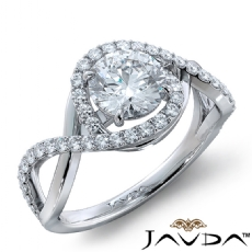 Twisted Halo Micro Pave Set Round diamond engagement Ring in 18k Gold White