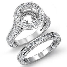3.45Ct Vintage Diamond Engagement Bridal Set 14K White Gold Round SemiMount Ring