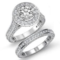 Vintage Halo Pave Bridal Set Round diamond engagement Ring in 14k Gold White