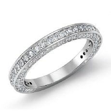 Round Diamond Half Wedding Women Matching Band Platinum 950 2.5mm Ring  (1.35Ct. tw.)