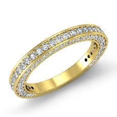 Round Diamond Half Wedding Women Matching Band 18k Gold Yellow 2.5mm Ring  (1.35Ct. tw.)