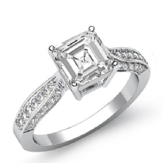 Basket Classic Sidestone Asscher diamond engagement Ring in 14k Gold White