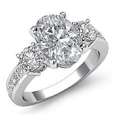 Basket Three Stone Channel Set diamond Ring 14k Gold White