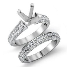 2.2Ct Diamond Wedding Bridal Set 14K White Gold Round Semi Mount Engagement Ring