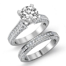 Pave Wedding Bridal Set Round diamond engagement Ring in 14k Gold White
