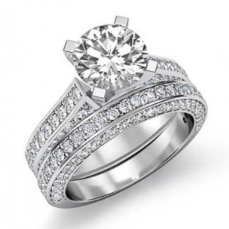 22ct diamond wedding bridal set platinum round semi mount engagement ring - Bridal Set Wedding Rings
