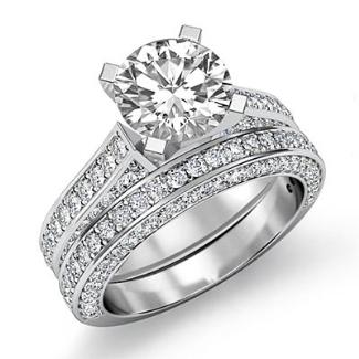 2 2ct Diamond Wedding Bridal Set Platinum Round Semi Mount Engagement Ring