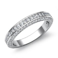 Women's Half Wedding Band Pave Diamond Matching Set Ring 14k White Gold 1.2Ct