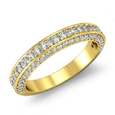 Women's Half Wedding Band Pave Diamond Matching Set Ring 14k Gold Yellow  (1.2Ct. tw.)