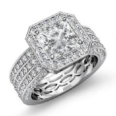 3 Row Shank Pave Set Halo Princess diamond engagement Ring in 14k Gold White