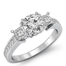 Basket Style Three Stone Round diamond engagement Ring in 14k Gold White