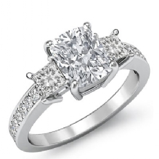 Basket Style Three Stone Cushion diamond engagement Ring in 14k Gold White
