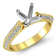 Diamond Engagement Ring Semi Mount made in 18k Gold Yellow Pave Setting (0.35Ct. tw.)