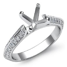 0.35Ct. Diamond Engagement Ring Round Semi Mount made in 14K White Gold Pave Setting