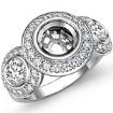 Round Side Diamond 3 Stone Engagement Ring Setting Semi Mount 14k White Gold 1.15Ct - javda.com