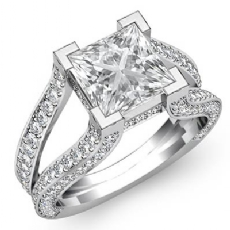 Split Shank Pave Set Princess diamond engagement Ring in 14k Gold White