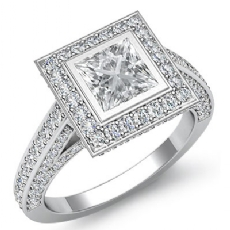 Bezel Halo Bridge Sidestone Princess diamond engagement Ring in 14k Gold White