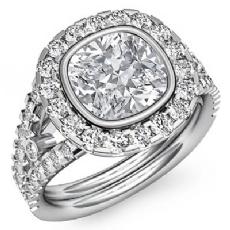 Halo Prong Bezel Setting Cushion diamond engagement Ring in 14k Gold White