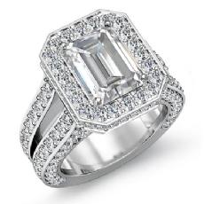 Pave Set Circa Halo Bridge Emerald diamond engagement Ring in 14k Gold White