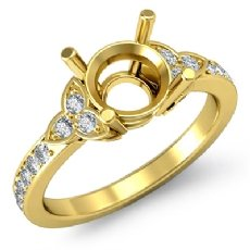 Round Diamond Engagement Ring Three 3 Stone Semi Mount 18k Gold Yellow Setting  (0.16Ct. tw.)