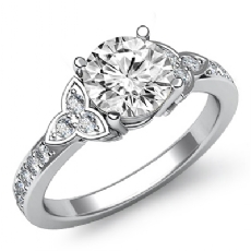 Floral Style Pave 3 Stone Round diamond engagement Ring in 14k Gold White