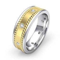 Rope Edges Bezel Diamond Eternity Men's Wedding Band 14k 2 Tone Gold 0.20 Ct