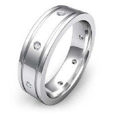 0.20 Ct Flat Edges Bezel Diamond Eternity Men's Wedding Band 14k White Gold