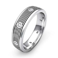 Round Bezel Diamond Ridged style Men's Wedding Band 14k White Gold 0.16 Ct