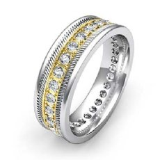 Pave Set Round Edge Diamond Eternity Men's Wedding Band 14k 2 Tone Gold 0.65 Ct