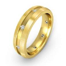 Men's Diamond Eternity Wedding Band Brushed Finish Sides 14k Gold Yellow  (0.16Ct. tw.)