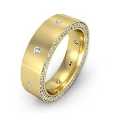 Side Diamond Eternity Satin Finish Men's Wedding Band in 18k Gold Yellow  (1.25Ct. tw.)