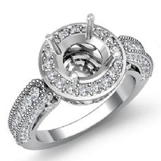 Diamond Engagement Wedding Halo Setting Ring 14k White Gold Round Semi Mount 1Ct