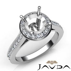 Diamond Vintage Engagement Ring 14k White Gold Halo Setting Semi Mount 0.70Ct