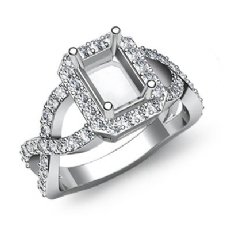 0.67Ct Round Diamond Engagement Semi Mount Ring 14K White Gold Split-Curve Shank