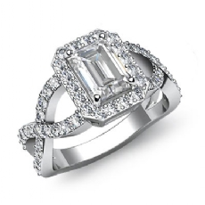 Halo Sidestone Cross-Shank Emerald diamond engagement Ring in 14k Gold White