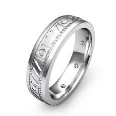 Bezel Set Diamond Men's Carved Eternity Wedding Band 14k White Gold 0.15 Ct