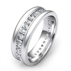Pave Set Diamond Eternity Men's Wedding Band Round Edges 14k White Gold 1 Carat