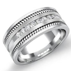 Channel Set Diamond Rope Edges Men's Wedding Band 14k White Gold 0.35 Ct