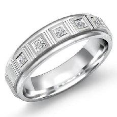 5 Stone Princess Diamond Round Edge Men's Wedding Band 14k White Gold 0.15 Ct