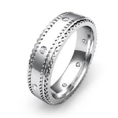 Carved Step Edge Men's Diamond Eternity Wedding Band in 14k White Gold 0.15 Ct