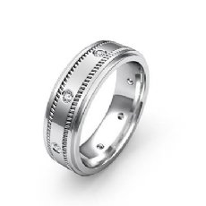 Milgrain Step Edge Diamond Eternity Men's Wedding Band 14k White Gold 0.15 Ct