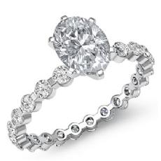 Oval diamond  Ring in 14k Gold White