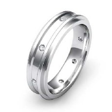 Polished Step Edge Diamond Eternity Men's Wedding Band in 14k White Gold 0.20Ct