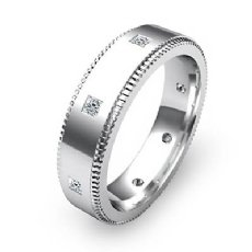 Princess Bezel Set Diamond Eternity Men's Wedding Band 14k White Gold 0.40 Ct