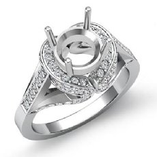 1.2 Ct Diamond Solitaire Engagement Semi Mount Ring 14k White Gold Halo Setting