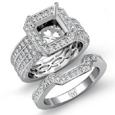 2Ct 3 Row Diamond Engagement Ring Bridal Setting 14K White Gold Semi Mount